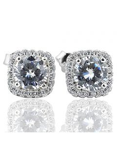 CZ Halo Cushion Earrings Studs in Sterling Silver Push Backs Width 8mm