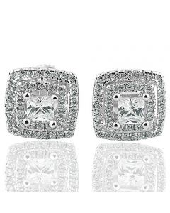Sterling Silver Cushion shaped halo Earrings Studs Cubic Zircons Screw back 10mm