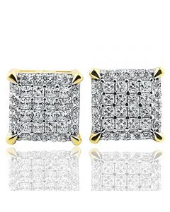 10mm Wide Gold tone Silver Square Shaped Stud Earrings With Cubic Zircons Screw back