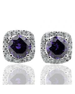 Halo Setting Cushion Shaped Stud Earrings in Sterling Silver Purple center with CZ Accents 10mm