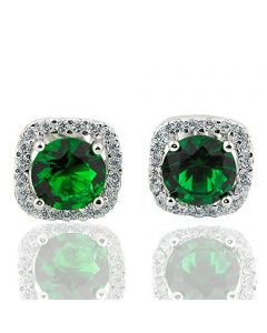Cushion Shaped Sterling Silver Stud Earrings Green and White Round CZ accents 10mm Halo