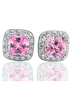 Princess Cut Pink CZ Cushion Shaped CZ Ear Studs Sterling Silver Screw back Width 7mm