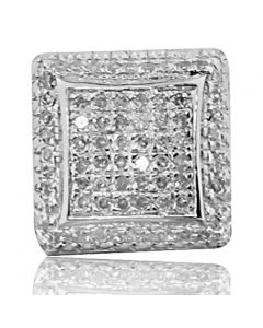 Diamond Earrings For Men 11mm Wide Square Pave SeLarge Earrings Screw Back 1/2ctw
