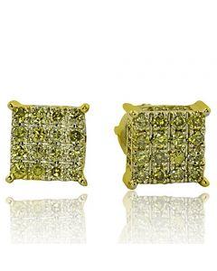 10K Gold Yellow Diamond Stud Earrings Cube Shaped 7mm Wide 0.6cttw