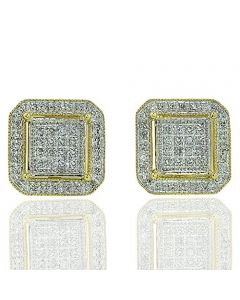 1/3ctw Diamond Square Cluster Ear Studs in 10K Yellow Gold 9mmm Wide Screw Back