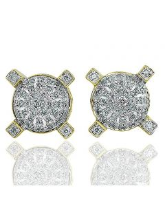 Round Cluster Stud earrings for Mens or Womens 10k Yellow gold 1/4 Cttw Diamonds 12mm Wide