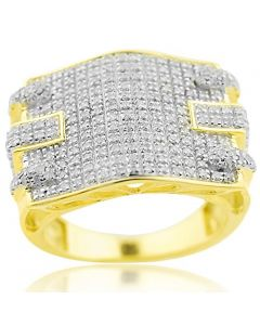 0.79cttw Diamond Mens Extra wide Wedding Ring 10K Yellow Gold 17mm Wide