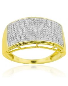 10K Yellow Gold Mens Wedding Band Extra Wide 12mm Pave Set 0.6cttw Diamonds