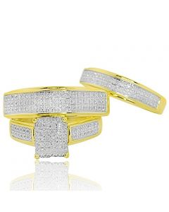 0.52ct Trio Rings Set 10K Yellow Gold 3pc Bride and Grooms Set With Diamonds 18mm Wide