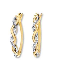 Infinity Hoop Earrings Womens Hoops 14K Gold-Tone Silver With CZ 21X15mm