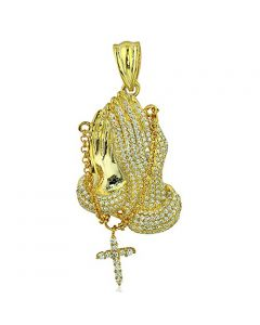 Praying Hands with Rosery Charm Mens Yellow Gold-Tone-Silver 44mm Tall