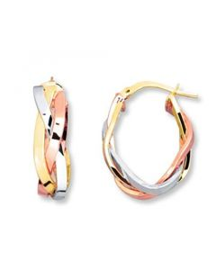 Tri Color Gold Tone Hoop Earrings Sterling Silver 20mm X 15mm