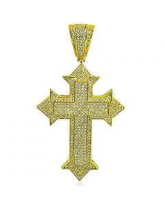 Yellow Gold-Finish Silver Cross Charm Mens Fashion With CZ 55mm Tall