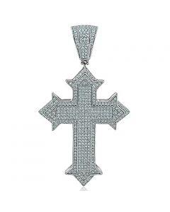 Silver Cross Charm Mens Fashion With CZ 55mm Tall