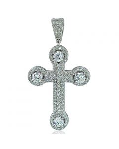 Mens Cross Charm Sterling Silver 45mm Tall Medium Size Pendant Mens Iced Out