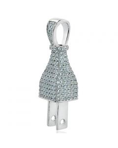 Silver 3D Switch Charm With CZ Iced Out Full Pave 36mm Pendant