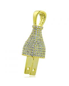 Yellow Silver 3D Switch Charm With CZ Iced Out Full Pave 36mm Pendant