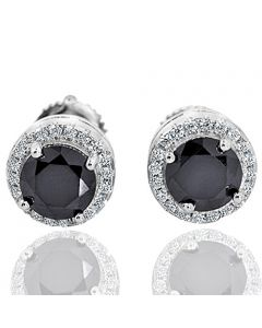 Black and White CZ Earrings Halo Style Screw Back Silver 8mm Round