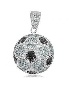 Soccer Ball Pendant Charm Mens Fashoin Sports Jewelry Black and White Cz 39MM