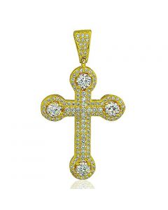 Mens Cross Charm 14K Gold-Plated-Silver 45mm Tall Medium Size Pendant Mens Iced Out