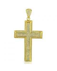 Yellow Gold Finish-Silver Cross Pendant Mens Fashion Charm 48mm Tall