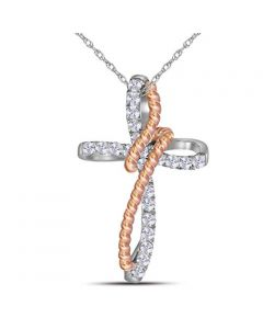 Cross Charm Two Tone With Necklace Rose Tone Silver 26mm Rope Collection