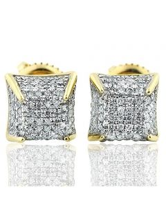 1/4 Cttw Diamonds Round Micro Pave Ear Studs in 10k Yellow Gold 8mm Screw Back