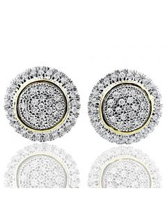 10k Yellow Gold Halo Style Earings Studs 1/3Cttw Diamonds 11mm Round Screw Back
