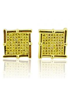 10K Gold Canary Yellow Diamond Stud Earrings 0.40ctw 12mm