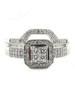 0.50ctw Diamond Vintage Wedding Ring Set 10K White Gold Princess Cut