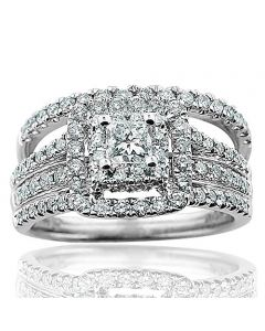 1.49ctw Princess Cut Wedding Ring Set 14K White Gold 11mm Wide 0.37ct Solitaire
