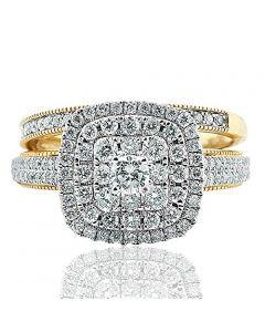 Extra Wide Halo Wedding Ring Set 14K Yellow Gold 1.00ctw Diamonds 12mm 2pc