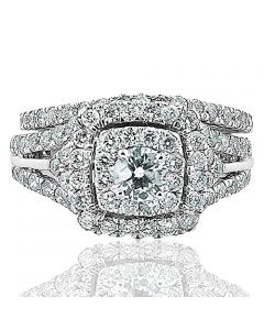 1.90ctw Diamond Wedding Ring Set 14K White Gold Round Solitaire Double Halo 12mm Wide