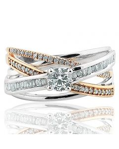 0.72ctw Diamond Bridal Engagement Ring Criss Cross Style 14K White gold and Rose gold Tone