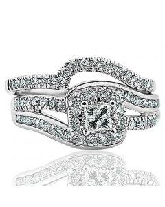 1.00ctw Diamond Wedding Ring Set 14K White Gold Princess Cut With Swirl 2pc Set
