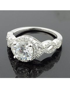 Sterling Silver Infinity Twisted Shank Halo CZ Engagement Ring
