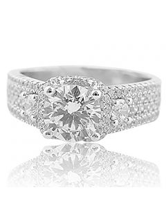 2ctw Three Stone Engagement Ring With Multi Row CZ Accents Sterling Silver