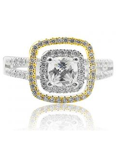 Two Tone Silver Cushion Shaped Double Halo CZ Engagement Ring with Split Shank