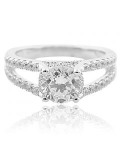 Ladies Engagement Ring Split Shank Style Round CZ in 925 Sterling Silver