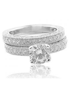 Bridal Wedding Ring Set 1ctw Sterling Silver and Cz Millgrain Sides Ornate 2pc