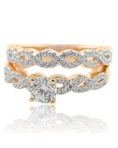 Wedding Ring Set Rose Gold-Tone Silver Infinity Twisted Accented Shank 2pc Set