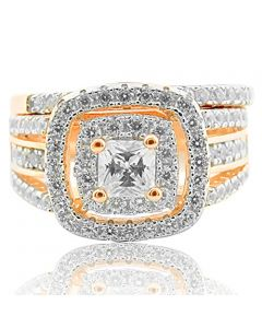 Bridal Wedding ring Set 3ctw Cubic Zircons Rose Gold Finish Silver Extra Wide