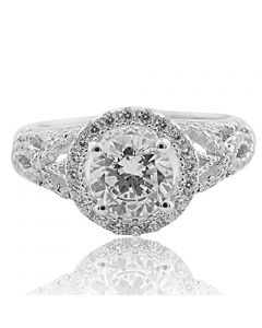Vintage Inspired Sterling Silver Halo Solitaire Engagement Ring with Cubic Zirconia