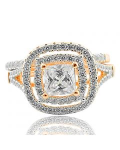 Princess cut Engagement Ring Rose Gold Finish Silver Split sides Wide Double Halo