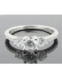 3 Stone Engagement Annviersary Ring Sterling Silver With Round Cut CZ