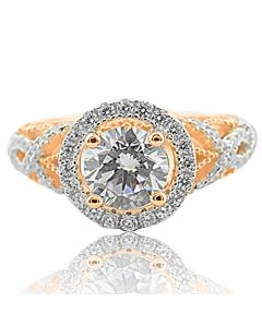 2ctw Bridal Engagement Ring Rose Gold-Tone Silver With CZ Halo Style