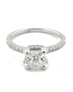 1ctw Princess Cut Engagement Ring With Round Accented Side Stones Silver and CZ