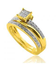 Engagement Ring and Matching Wedding Band Set 10K Gold Princess Cuts Center 1/2ctw(i2/i3, I/j)