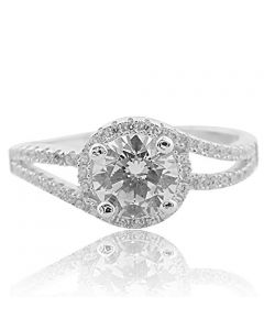 Sterling Silver Swirl Style Halo Engagement Ring With Cubic Zircons