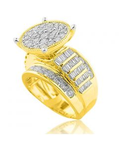 3.00ctw Bridal Wedding Ring Extra Large 10K Yellow Gold Wide Baguette and Round